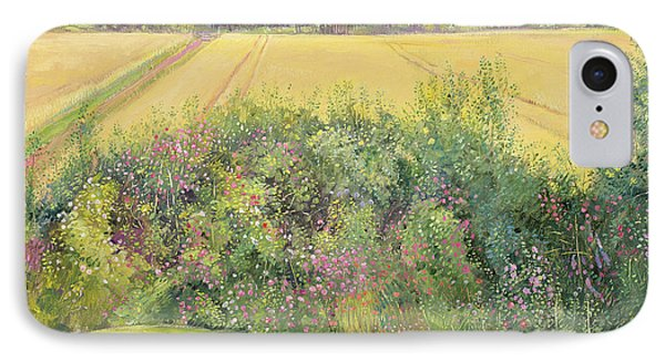 Roses And Cornfield IPhone Case by Timothy Easton