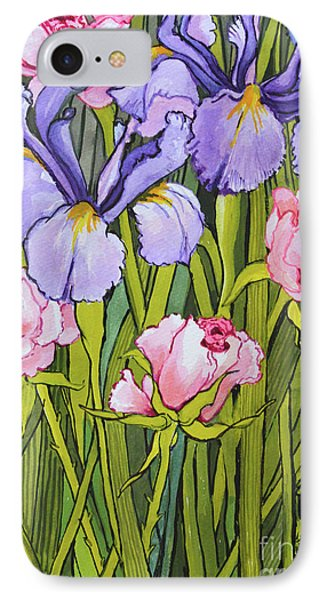 Roses And Irises In The Garden IPhone Case by Joan Thewsey