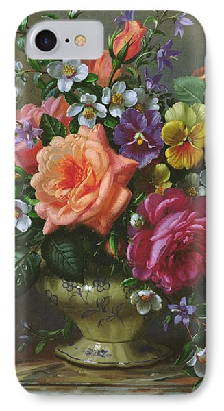 Roses And Pansies IPhone Case by Albert Williams