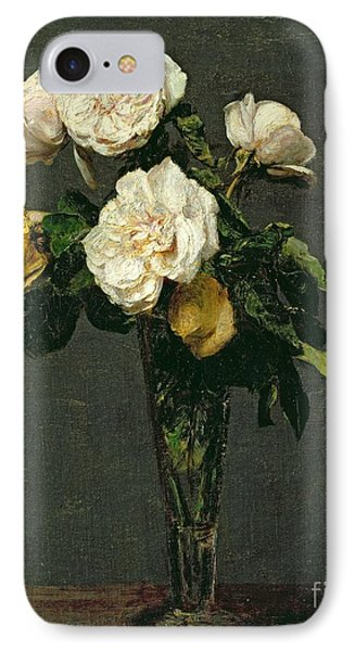 Roses In A Champagne Flute IPhone 7 Case by Ignace Henri Jean Fantin-Latour
