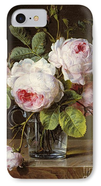Roses In A Glass Vase On A Ledge IPhone Case by Cornelis van Spaendonck