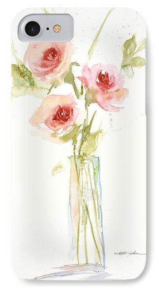 Roses In Glass Vase IPhone Case by Sandra Strohschein