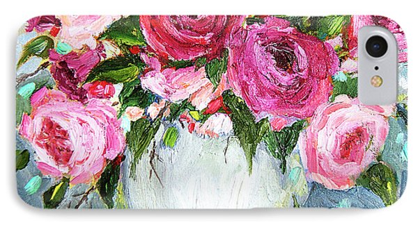IPhone Case featuring the painting Roses In Vase by Jennifer Beaudet