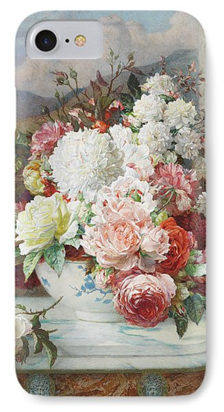 Roses On A Marble Ledge IPhone Case by William Jabez Muckley
