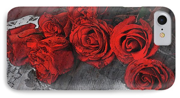 IPhone Case featuring the photograph Roses On Lace by Bonnie Willis