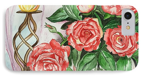 Roses With Candle Stand  IPhone Case by Pushpa Sharma