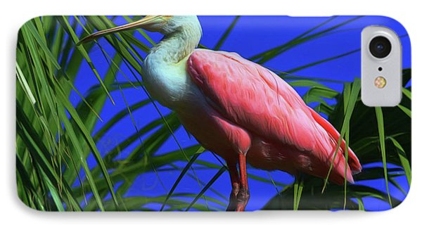 IPhone Case featuring the painting Rosetta Spoonbill Alligator Farm by Deborah Benoit