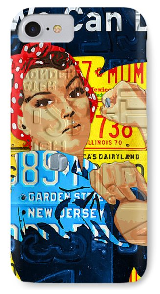 Rosie The Riveter We Can Do It Promotional Poster Recycled License Plate Art IPhone Case by Design Turnpike