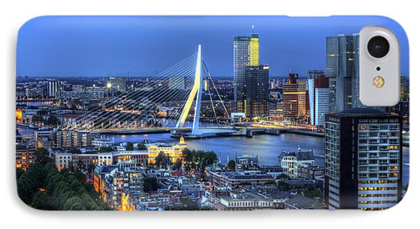 IPhone Case featuring the photograph Rotterdam Skyline With Erasmus Bridge by Shawn Everhart