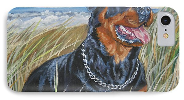 Rottweiler At The Beach IPhone Case by Lee Ann Shepard