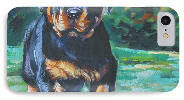 Rottweiler Pup IPhone Case by Lee Ann Shepard