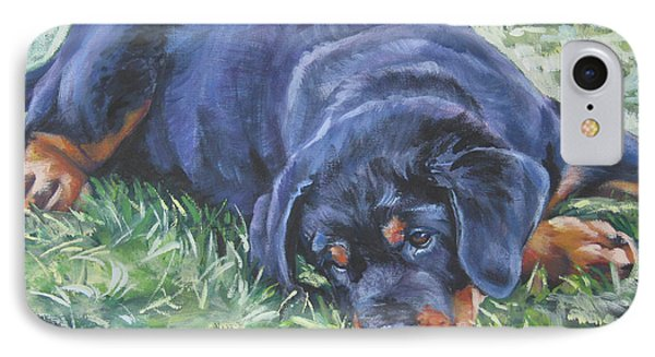 Rottweiler Puppy IPhone Case by Lee Ann Shepard