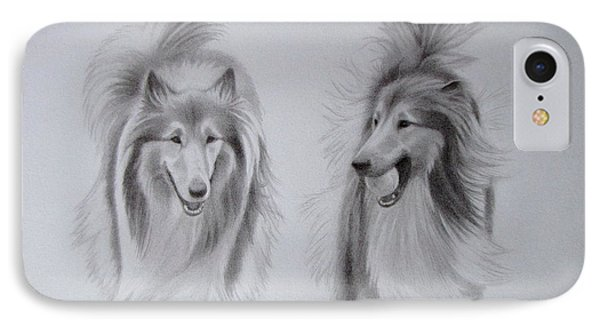 Rough Collie Sisters IPhone Case by Karen Wood