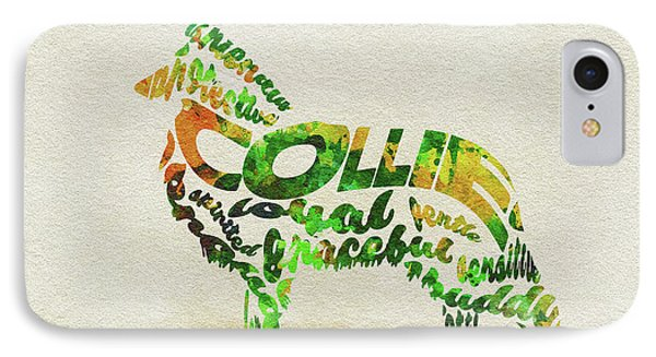 IPhone Case featuring the painting Rough Collie Watercolor Painting / Typographic Art by Ayse and Deniz