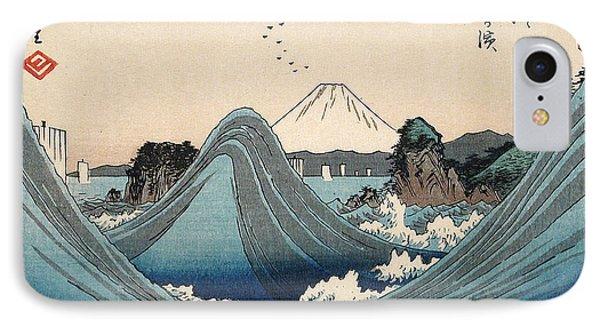 Rough Seas At Shichiri Beach IPhone Case by Hiroshige