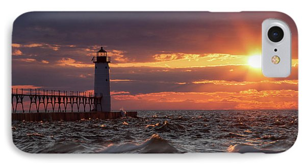 IPhone Case featuring the photograph Rough Water Sunset by Fran Riley