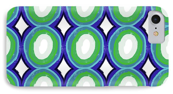 Round And Round Blue And Green- Art By Linda Woods IPhone Case by Linda Woods
