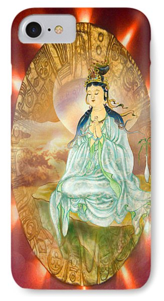Round Halo Kuan Yin IPhone Case by Lanjee Chee