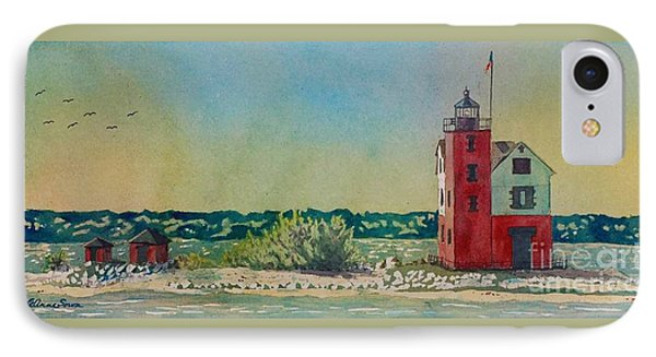 IPhone Case featuring the painting Round Island Lighthouse by LeAnne Sowa