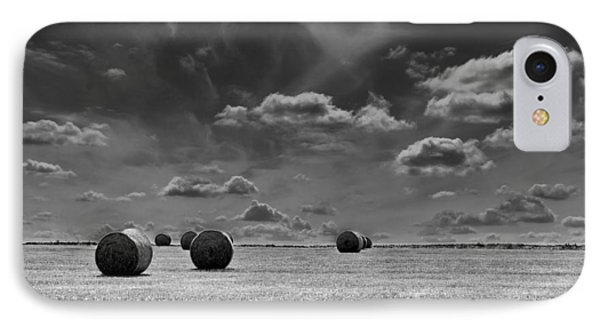 Round Straw Bales Landscape IPhone Case by John Williams