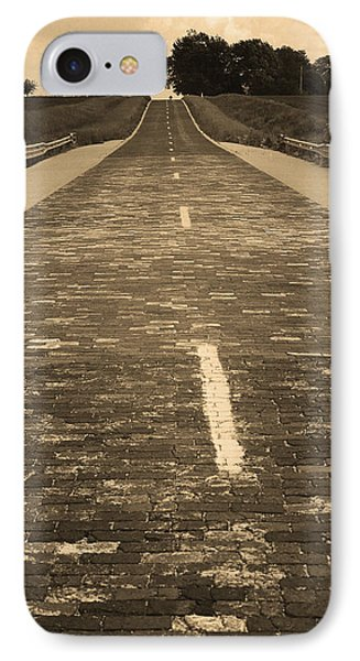 IPhone Case featuring the photograph Route 66 - Brick Highway 2 Sepia by Frank Romeo