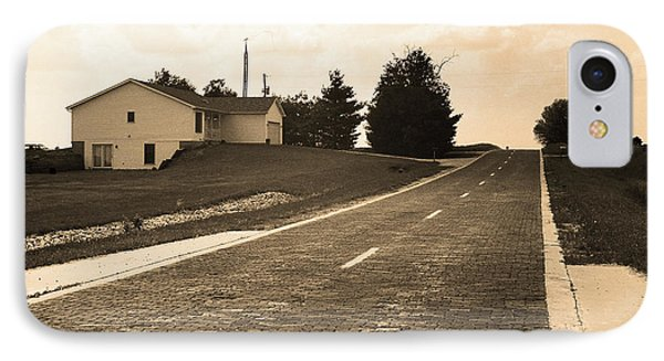IPhone Case featuring the photograph Route 66 - Brick Highway Sepia by Frank Romeo