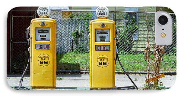 Route 66 - Illinois Gas Pumps Phone Case by Frank Romeo