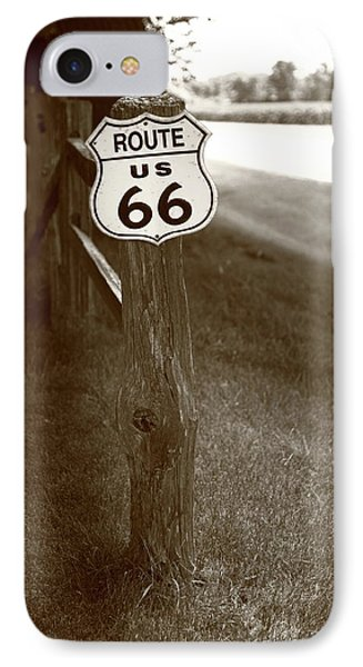 IPhone Case featuring the photograph Route 66 Shield And Fence Sepia Post by Frank Romeo