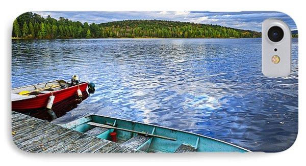 Rowboats On Lake At Dusk IPhone Case by Elena Elisseeva