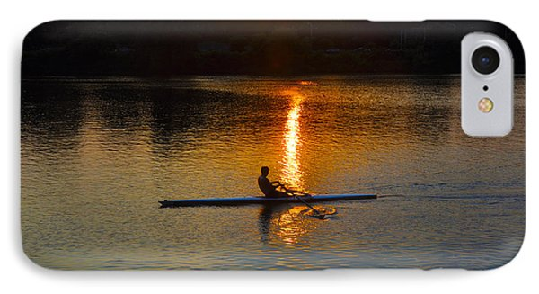 Rowing At Sunset 2 Phone Case by Bill Cannon
