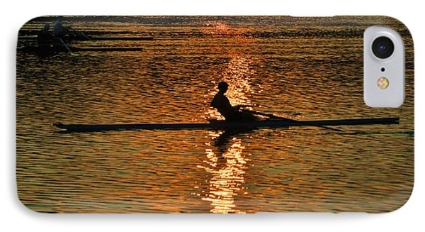Rowing At Sunset 3 Phone Case by Bill Cannon