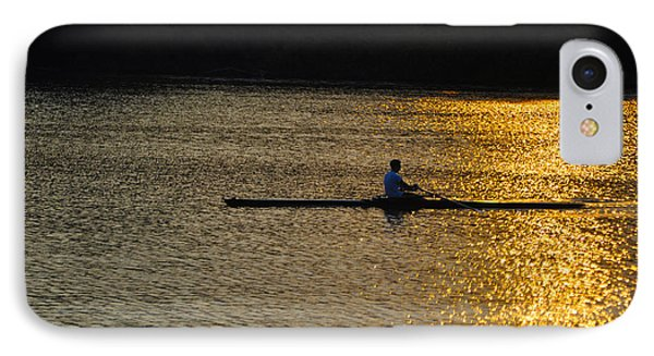 Rowing At Sunset Phone Case by Bill Cannon