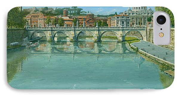 Rowing On The Tiber Rome IPhone Case by Richard Harpum