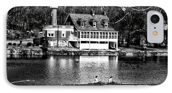 Rowing Past Turtle Rock Light House In Black And White IPhone Case by Bill Cannon