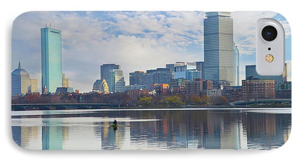 Rowing The Charles River - Boston Massachusetts IPhone Case by Bill Cannon