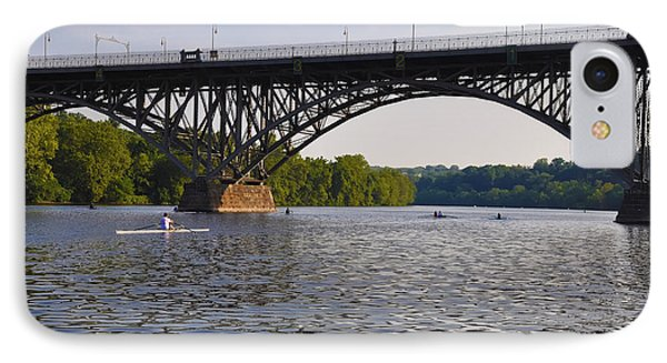 Rowing Under The Strawberry Mansion Bridge Phone Case by Bill Cannon