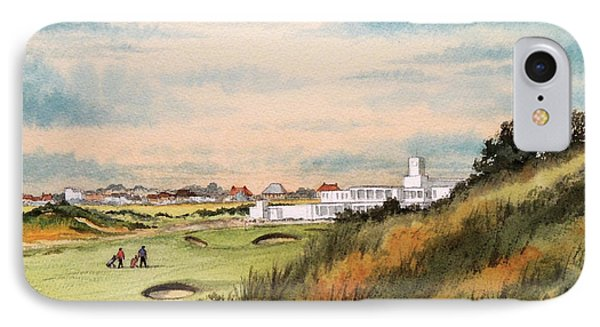 IPhone Case featuring the painting Royal Birkdale Golf Course 18th Hole by Bill Holkham