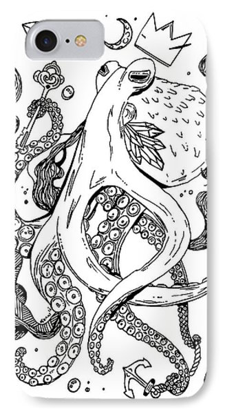 Royal Octopus Black And White IPhone Case by Kenal Louis
