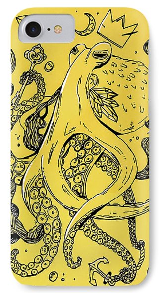 Royal Octopus Canary Yellow IPhone Case by Kenal Louis