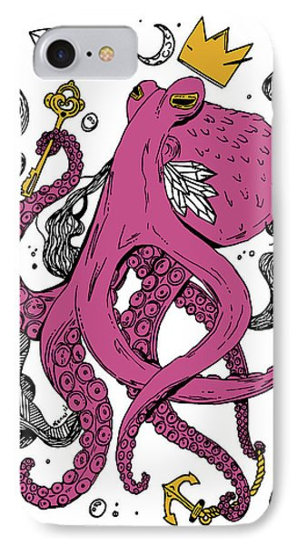 Royal Octopus Pink And Gold IPhone Case by Kenal Louis