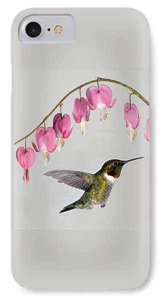 IPhone Case featuring the photograph Ruby-throated Hummingbird With Bleeding Hearts by Lara Ellis