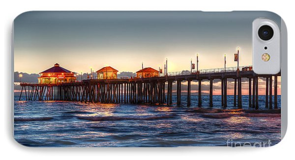 IPhone Case featuring the photograph Ruby's Surf City Diner At Twilight - Huntington Beach Pier by Jim Carrell