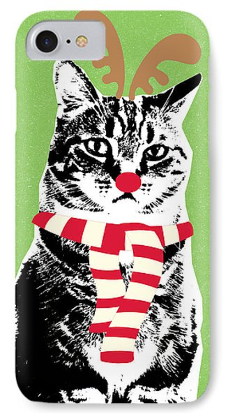 Rudolph The Red Nosed Cat- Art By Linda Woods IPhone Case by Linda Woods