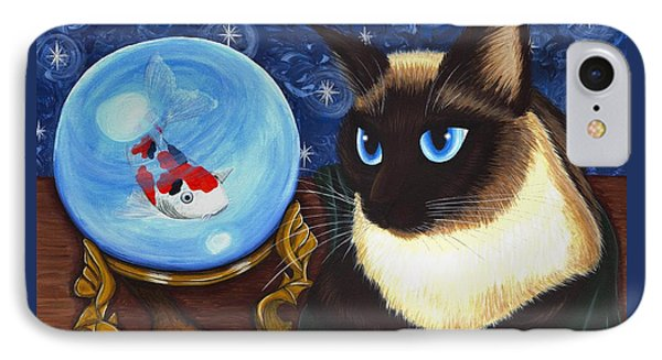 IPhone Case featuring the painting Rue Rue's Fortune - Siamese Cat Koi by Carrie Hawks