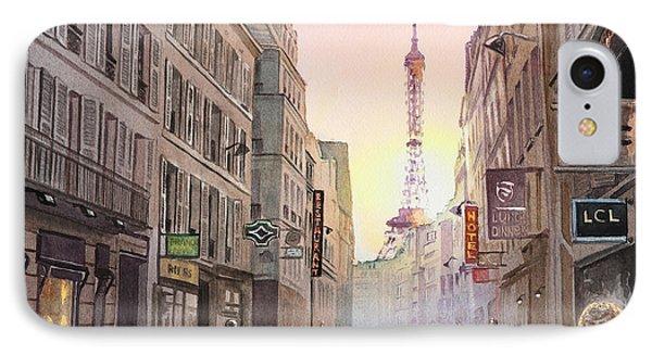 Rue Saint Dominique Paris France View On Eiffel Tower Sunset IPhone Case