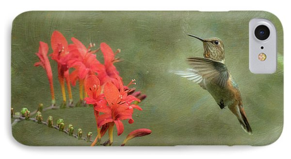 IPhone Case featuring the photograph Rufous Hummingbird And Crocosmia by Angie Vogel
