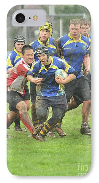 Rugby In The Mud IPhone Case by Rod Wiens