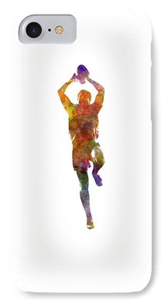 Rugby Man Player 04 In Watercolor IPhone Case