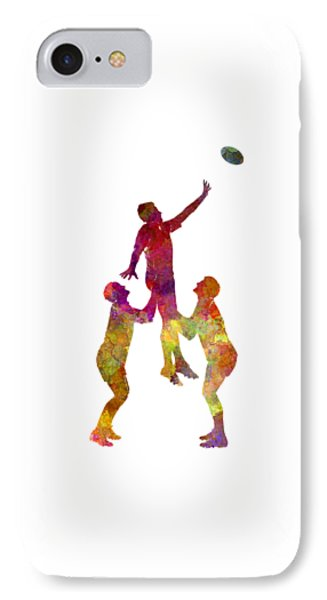 Rugby Men Players 01 In Watercolor IPhone Case