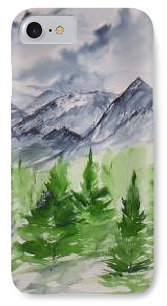 Ruidoso Nm Southwestern Mountain Landscape Watercolor Painting Poster Print Phone Case by Derek Mccrea